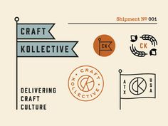 Craft Kollective Brand designed by Bryan Butler. Connect with them on Dribbble; Typo Logo, Logo Sign, Logo Branding, Branding Design, Logos, Typography Design, Lettering, Service Logo, Badge Design