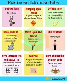 Job Idioms & Sayings in English! Learn useful phrases and idioms related to jobs in English with meaning, ESL printable worksheet and example sentences. English Idioms, English Phrases, Learn English Words, English Study, English Lessons, English Vocabulary, English Grammar, Vocabulary Words, Improve Vocabulary