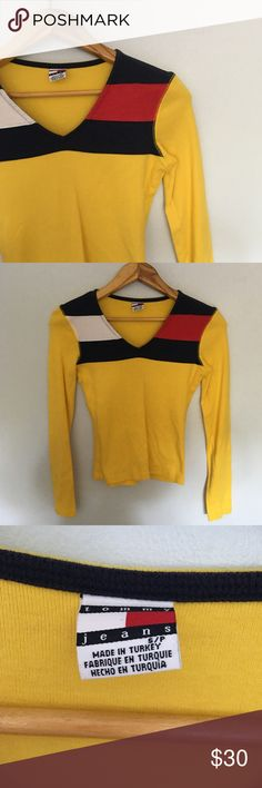 Vintage Tommy Girl Signature Yellow Top Vintage 90''S Tommy Girl Signature Yellow Long Sleeve Top. In perfect condition. Tommy Hilfiger Tops Tees - Long Sleeve