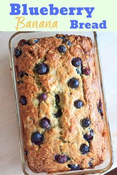 Blueberry banana bread - double the fruit and double the deliciousness! Perfect summertime sweet bread for breakfast or snacking. Blueberry banana bread - double the fruit and double the deliciousness! All the sweet slices will be gone before you know it. Blueberry Bread Recipe, Blueberry Banana Bread, Blueberry Recipes, Banana Bread Recipes, Fruit Recipes, Dessert Recipes, Desserts, Blueberry Breakfast, Homemade Breakfast