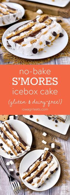 No-Bake S'mores Icebox Cake is a gluten-free and dairy-free dessert recipe that will be a hit with kids and adults alike. Sticky and sweet, just like the real thing! | iowagirleats.com #glutenfree