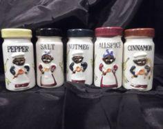 Black Americana Spice Shakers Mid Century
