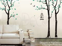 PopDecors - Three birch trees and birdcage Custom Beautiful Tree Wall Decals for Kids Rooms Teen Girls Boys Wallpaper Murals Sticker Wall Stickers Nursery Decor Nursery Decals: Amazon.co.uk: Kitchen & Home