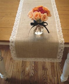 Shabby chic burlap and lace table runner.  So pretty!