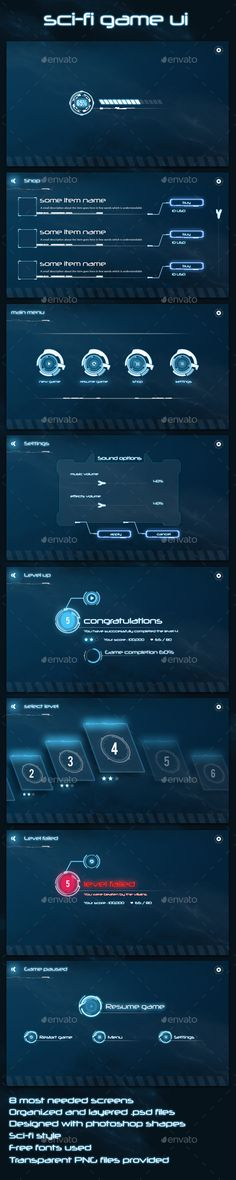 Buy Sci-fi Game UI by anchor_point_heshan on GraphicRiver. Sci-FI Game UI This game UI kit includes the most essential screens needed for a Sci-fi style mobile game Free fonts . Kit Design, Game Ui Design, Ui Ux Design, Game Interface, User Interface Design, Kit Ui, Sci Fi Games, Button Game, Logos
