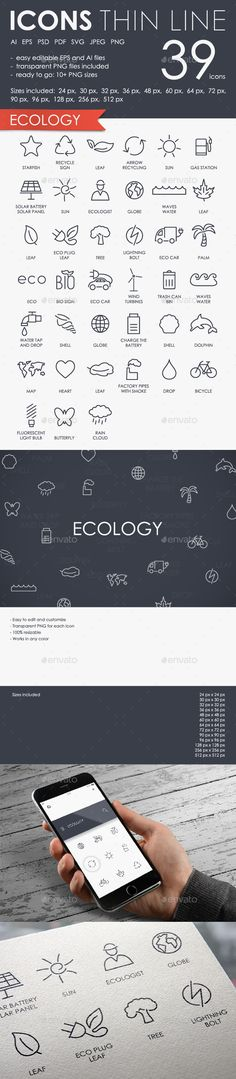 Ecology Thinline Icons