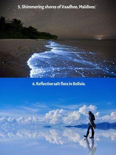 Shimmering shores of Vaadhoo, Maldives & Reflective salt flats in Bolivia