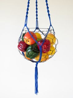 Large Hanging Wire Basket With Macrame Hanger by CharestStudios, $60.00