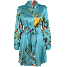 Vivienne Westwood Red Carpet Floral Slik Satin Shirt Dress ($1,035) ❤ liked on Polyvore featuring dresses, embellished dresses, rose print dress, blue flower print dress, flower print dress and blue satin dress