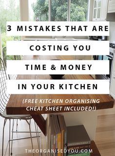 3 Mistakes That Are Costing You Time & Money in Your Kitchen – don't make the same mistakes I did that could cost you some significant time & money. Click through to find out what these mistakes are & get your FREE kitchen organizing cheat sheet! Kitchen Drawer Organization, Home Organisation, Household Organization, Kitchen Storage, Storage Organization, Organizing, Classic Kitchen, Storage Hacks, Storage Ideas