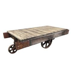Industrial Lumber Cart Coffee Table - Chairish