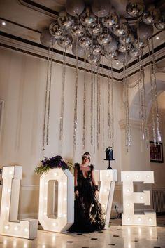 Wedding Inspiration: Sex & The City, Amethyst Purple, Black, Silver & White Purple And Black, Black Silver, Creative Wedding Inspiration, Light Up Letters, Real Weddings, Amethyst, Invitations, City, Wedding Dresses