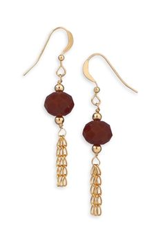 14/20 Gold Filled Earrings with Burgundy Glass
