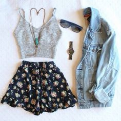 shorts fashion High waisted shorts denim jacket jacket top