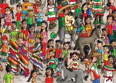 Excerpt from the Mexico page, book 3: Find the Cutes (www.findthecutes.com)  #Mexicocartoon #Mexicans #Mexicodonkey #Lookandfindbook #Lookandfind #Cartoons #Funnychildren #Funnykidsbook #Seekandfind #Childrensbooks #Kidsbooks #Mexicokids #Mexicanchildren