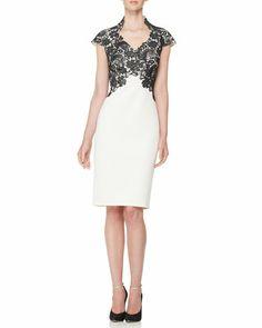 Short-Sleeve Lace-Bodice Cocktail Dress by Tadashi Shoji at Neiman Marcus.
