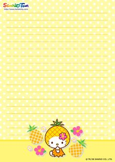 Hello Kitty Printable Stationary Kawaii paper style and more Free Printable Not My Sugar Bits Owned Sanrio Hello Kitty, Hello Kitty My Melody, Free Printable Stationery, Printable Letters, Kawaii Stationery, Stationery Paper, Filofax, Envelopes, Hello Kitty Imagenes