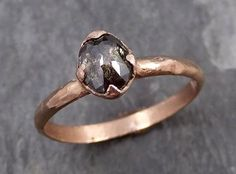Fancy cut Salt and pepper Diamond Solitaire Engagement 14k Rose Gold Wedding Ring Rough Diamond Ring byAngeline 0743