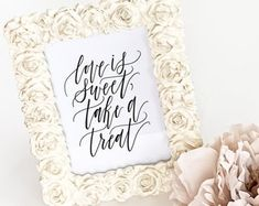 Printable Love Is Sweet, Take A Treat Sign Top Wedding Trends, Love Is Sweet, Wedding Signs, Bed Pillows, Printable, Lettering, Etsy, Art, Wedding Plaques