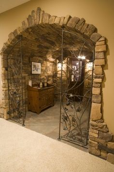 Widing Custom Homes - Traverse City Michigan- wine cellar? I love how the stone starts Wine Cellar Basement, Home Wine Cellars, Wine Cellar Design, Stone Houses, Tasting Room, Bars For Home, Architecture, Custom Homes, Beautiful Homes