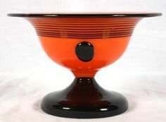 Loetz Czech Orange Black Powolny Art Glass Vase