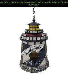 Nautical Lighthouse Birdhouse 8in Outdoor Garden Patio Decor Bird House, New #decor #parts #kit #shopping #fpv #outdoor #plans #drone #technology #nautical #tech #theme #racing #gadgets #camera #products