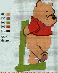 Borduurpatroon Kruissteek Winnie the Pooh Alfabet *Cross Stitch Pattern Winnie the Pooh Alphabet ~L~