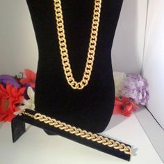 """Vintage Goldtone Chain Link Necklace with Matching Bracelet and both have a Toggle Clasp. The Necklace is  24"""" L and the Bracelet is 8.25"""". by CCCsVintageJewelry on Etsy"""