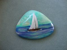 Sailing on a Boat Handpainted Rock by MJBousquet on Etsy