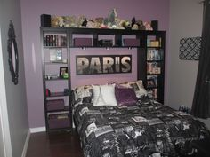 Paris bedroom ideas all at bed bath n beyond bed spread for 199.99 pillow 39.99 a piece Paris sign is 29.99