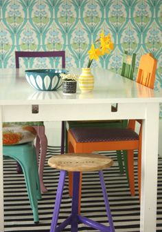 Mix And Match Dining Furniture That Looks As Though It Has Been Collated Over Many Years From Different Places Retro Vintage Interior