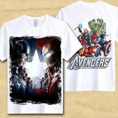 db722dad6 Captain America T-shirt Imprimé T-shirts Hommes Avengers iron man  Guerre civile hulk homme chauve-souris thor suprehero unisexe à ...