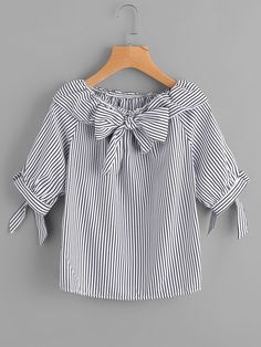 Best 12 Shop Fold Over Neckline Pinstripe Bow Tie Detailed Top online. SheIn offers Fold Over Neckline Pinstripe Bow Tie Detailed Top & more to fit your fashionable needs. Dresses Kids Girl, Kids Outfits, Cute Outfits, Blouse Styles, Blouse Designs, Stylish Dresses, Casual Dresses, Girl Fashion, Fashion Outfits