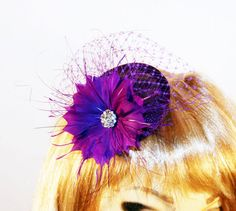 Purple Fascinator Hat with Birdcage Veil & Feathers - Purple Cocktail Hat for Kentucky Derby - Wedding Tea Party Hat on Etsy, $45.00