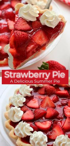 Strawberry Desserts Discover Easy Strawberry Pie (Like Frischs and Shoneys) - CincyShopper This super simple Strawberry Pie Recipe is loaded with strawberries and a homemade jelly filling. You will find it to be like the same you find at Frischs Easy Strawberry Pie, Strawberry Dessert Recipes, Recipes With Strawberries, Köstliche Desserts, Delicious Desserts, Yummy Food, Food Deserts, Homemade Jelly, Homemade Pie