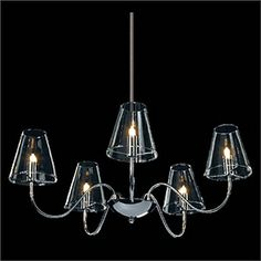 Ceiling Lights - Chandeliers - Antique Chandeliers - Candle Featured Modern Chandeliers with 5 Lights Transparent Shades HOME LAVA