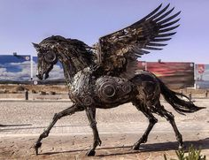 Steampunk Pegasus - Scrap Metal Sculptures by Hasan Novrozi - Iranian artist Hasan Novrozi welded these incredible sculptures from various pieces of scrap metal.