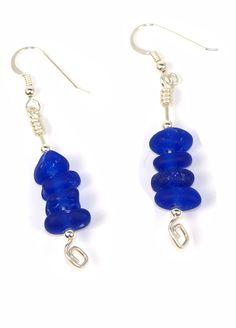 Glass Earrings, Drop Earrings, Bingo, Cobalt, Beach, Jewelry, Fashion, Moda, Jewlery