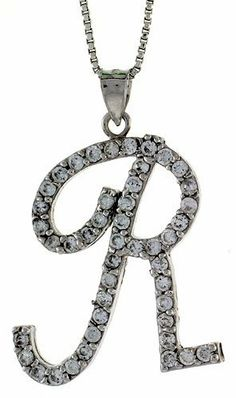 Sterling Silver Script Initial Letter R Alphabet Pendant with Cubic Zirconia Stones, 1 3/8 long Sabrina Silver. $47.94