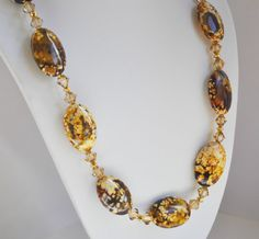 Brown Necklace Agate Handmade Beaded Jewelry in Gold Beaded Necklace Swarovski Crystals