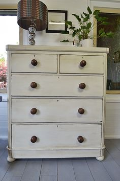 This grand Victorian mahogany chest of drawers really speaks for itself with substantial storage and exquisite style.  We've enhanced it's beauty by painting in Annie Sloan Old White, with the inner drawers in Versailles for added appeal.