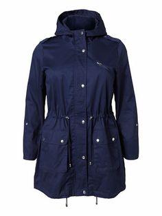 Deep blue parka from JUNAROSE. Your perfect transition jacket. #junarose #blue #parka #plussize #fashion
