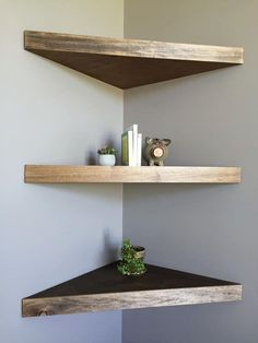 10 Attentive ideas: Floating Shelf Bedside Night Stands how to decorate floating shelves how to build.Floating Shelf Design Spaces floating shelf under tv how to build.Floating Shelf Under Tv How To Build. Corner Shelf Design, Diy Corner Shelf, Wood Corner Shelves, Bathroom Corner Shelf, Floating Corner Shelves, Floating Shelves Bathroom, Shelves In Bedroom, Kitchen Shelves, Glass Shelves