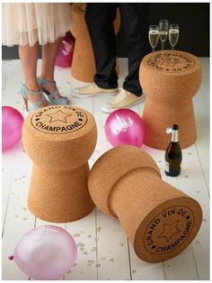 """Unique Wedding Gifts: XL Champagne Cork """"Grand Vin"""" Stools"""