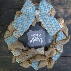 16 Welcoming It's a Boy Wreath with attached by LittleMRCreations, $55.00
