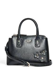 4c1db5ebc NWT Guess Liya Crossbody small Satchel purse Handbag Black w/ flowers