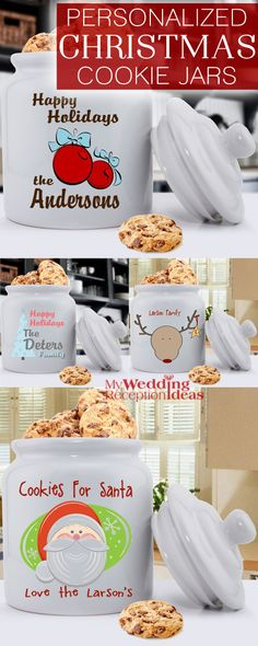 Fun ceramic cookie jars personalized with your family name or a cheerful phrase make unique Christmas kitchen decorations - and can be given as a gift to friends or family that will be used year after year. Keep homemade cookies fresh when entertaining while decorating your table or kitchen counter with this heirloom-quality ceramic cookie jar with air-tight lid. These cookie jars can be ordered at http://myweddingreceptionideas.com/christmas-cookie-jars.asp