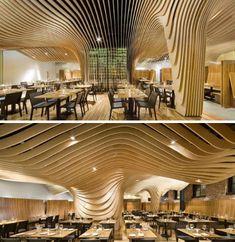 Amazing Birch Plywood Ceiling at Banq Restaurant, Boston