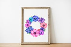 Excited to share this item from my #etsy shop: Custom Name Art, Floral Wreath Art Print, Personalized Girl Birthday Print, Girly Wall Art Vogue, Fashion Girl Poster, Watercolor Wildflower