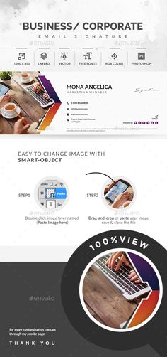 ◨ [GET]▧ Email Signature Agency Bank Business Campaign Consultant Corporate Email Signature Templates, Get Email, Color Photoshop, Email Signatures, Brochure Design Inspiration, Change Image, Information Graphics, Creative Design, Vector Free